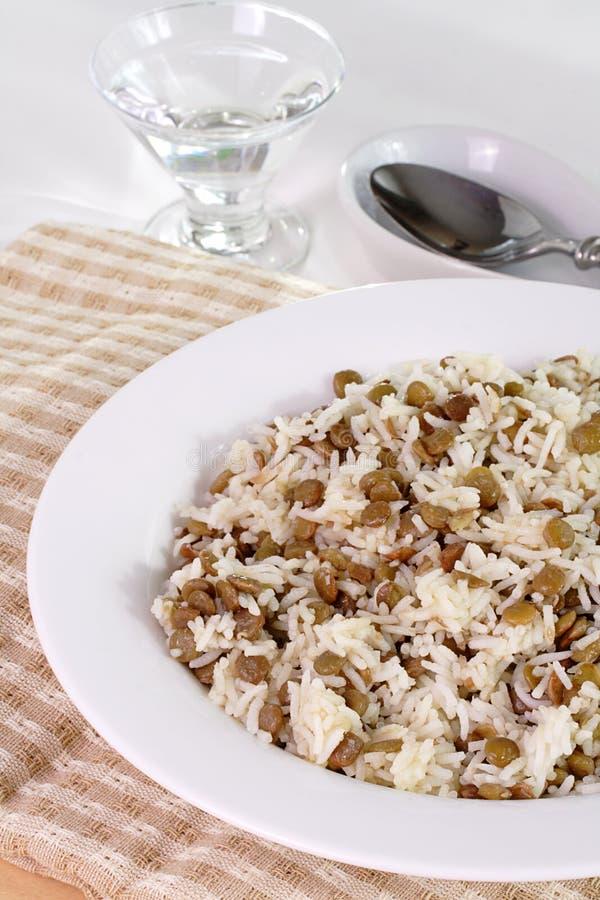 Linzen en rijst royalty-vrije stock afbeelding