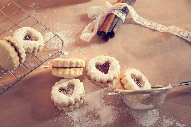 Linzer曲奇饼 库存照片