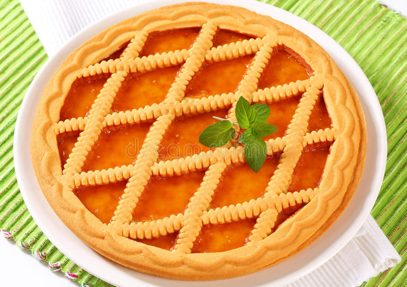 Linzer apricot tart royalty free stock photography