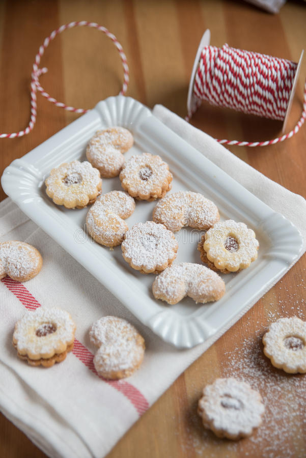 Linzer Cookies for christmas. Home made Linzer Cookies for christmas stock photo