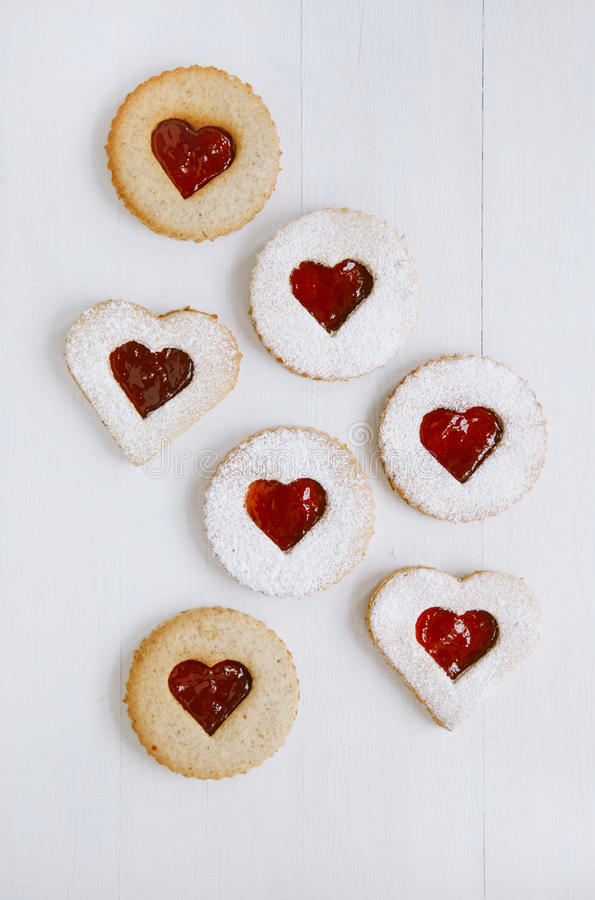 Download Linzer Homemade Cookies With Heart Shape Stock Image - Image of powdered, wooden: 28000735
