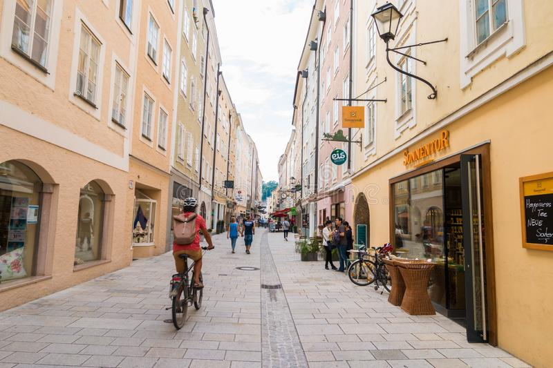 Linzergasse - popular pedestrian shopping street on the right side of Salzach river, Salzburg, Austria royalty free stock photography