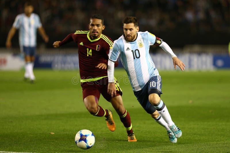 Lio Messi contro il Venezuela fotografia stock libera da diritti