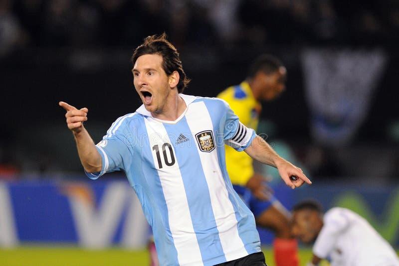 Lio Messi que celebra una meta imágenes de archivo libres de regalías