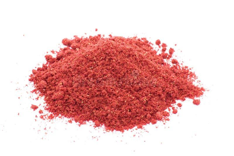 Liofilizować truskawki na białym tle, proszek zdjęcie stock