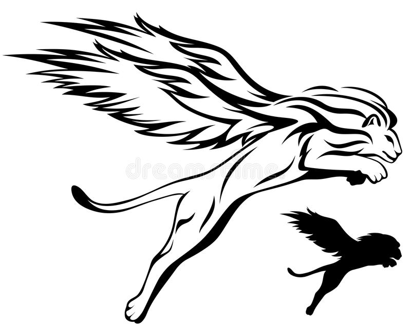 Lion à ailes illustration de vecteur
