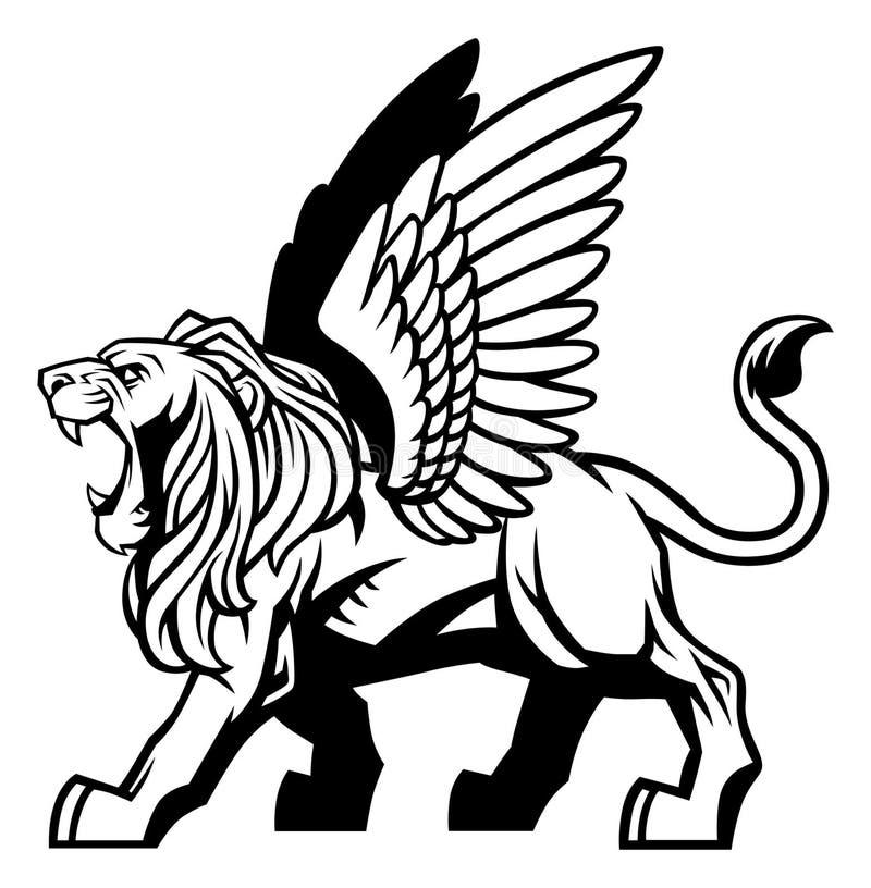 Lion à ailes illustration libre de droits