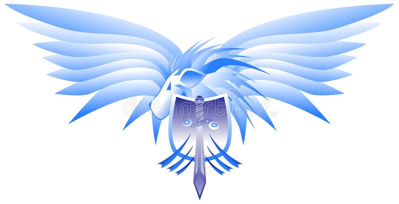 Lion à ailes avec le bouclier et l'épée illustration libre de droits