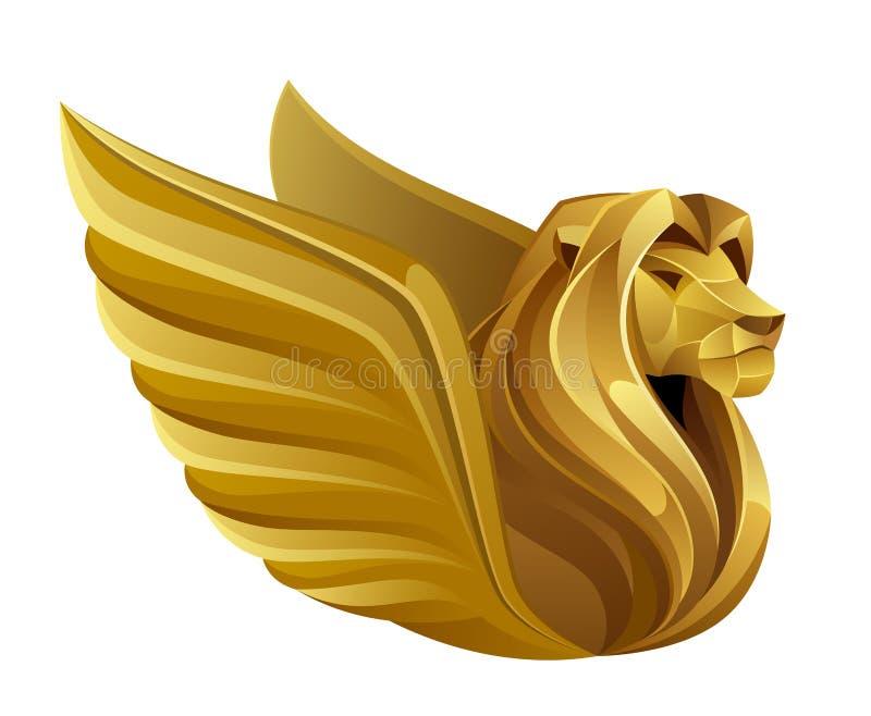 Lion à ailes d'or illustration libre de droits