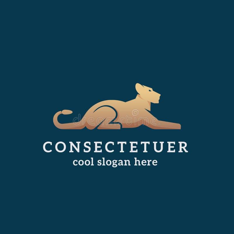 Lion Abstract Vetora Sign dourado de encontro, emblema ou Logo Template Silhueta lisa da leoa de Gracefull do estilo com tipograf ilustração do vetor