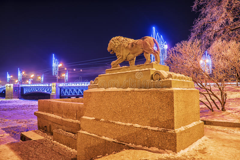 Lion on the Admiralty embankment in Saint-Petersburg in winter stock photo