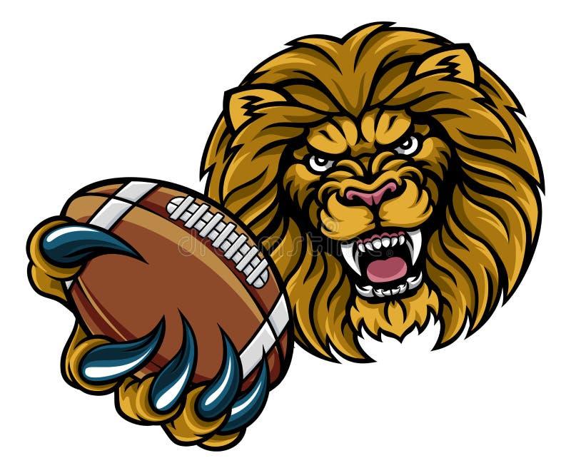 Lion American Football Ball Sports maskot royaltyfri illustrationer