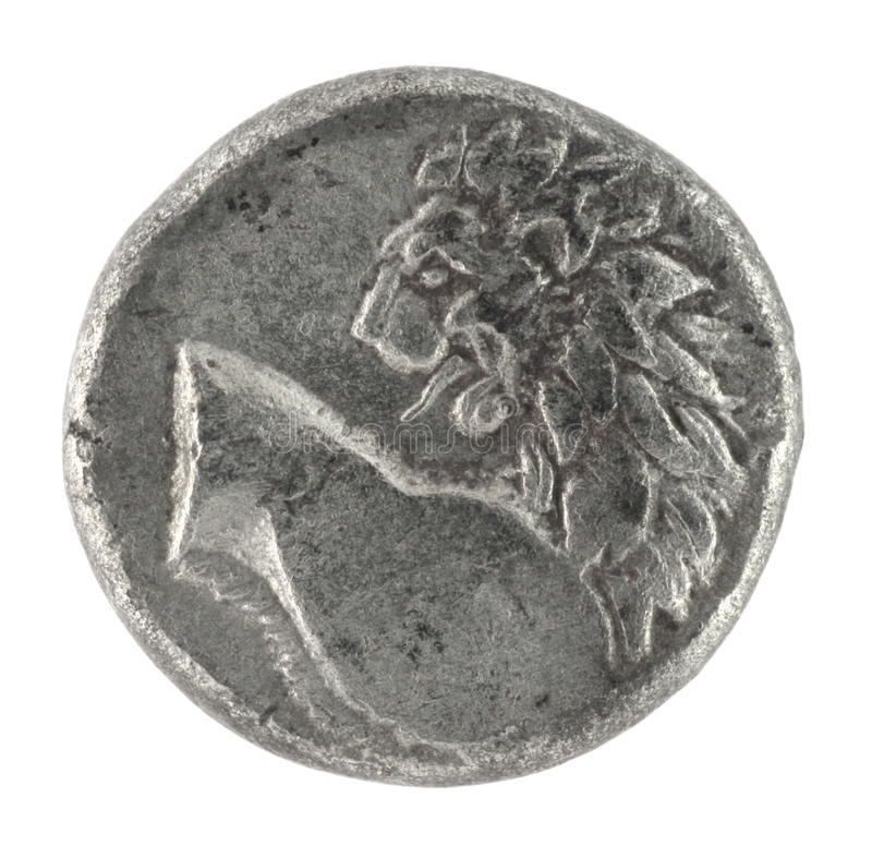 Lion on Ancient Greek Half Drachm 350 BC royalty free stock images