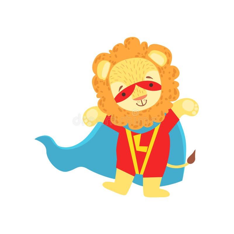 Lion Animal Dressed As Superhero med maskerat vigilantetecken för udde ett komiker royaltyfri illustrationer