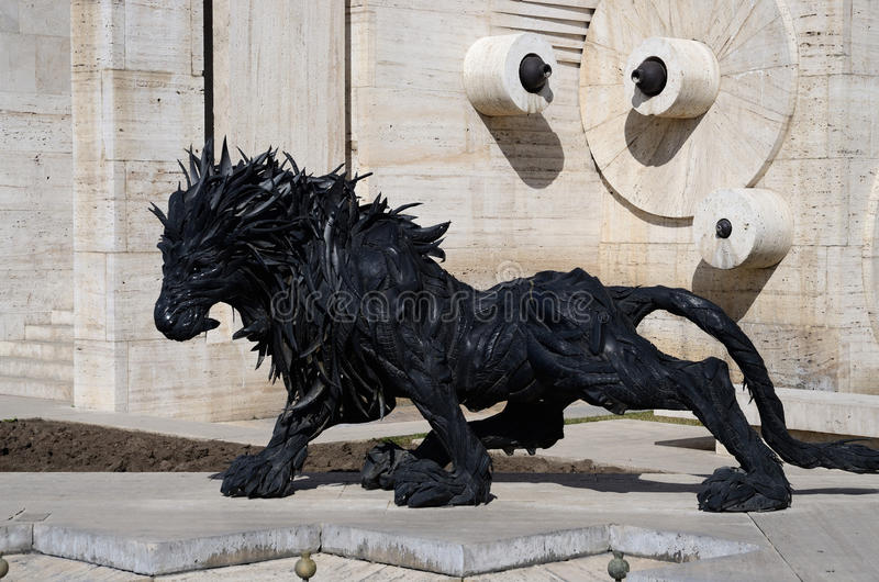 Lion art statue made from old car tyres near Yerevan Cascade,Armenia royalty free stock photos