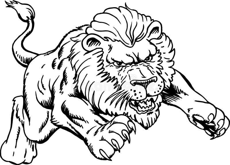 Lion Attacking Vector Illustration stock illustratie