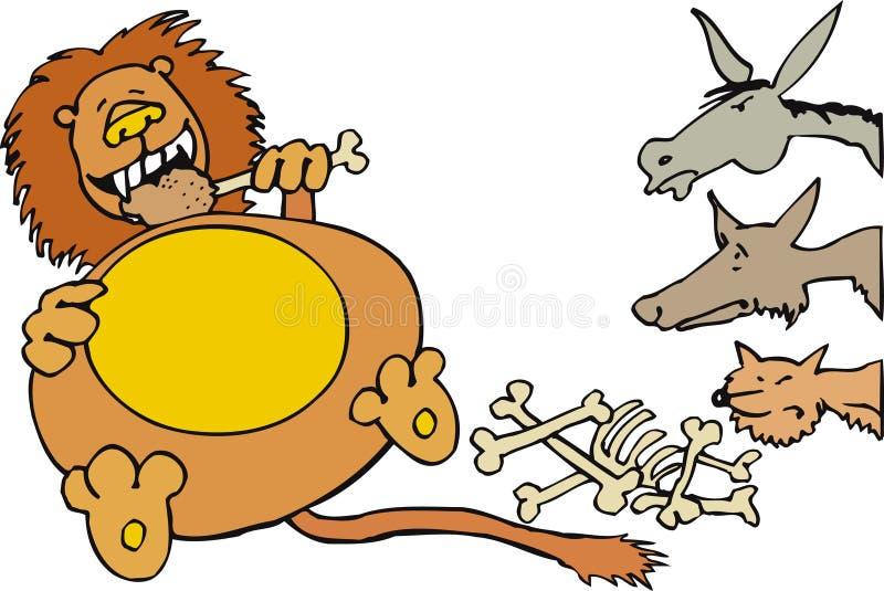 Lion avec des animaux illustration libre de droits