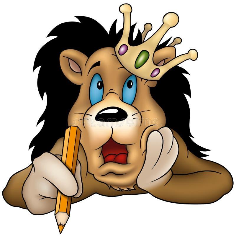 Lion avec le crayon illustration de vecteur