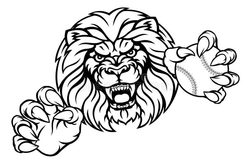 Lion Baseball Ball Sports Mascot ilustração royalty free