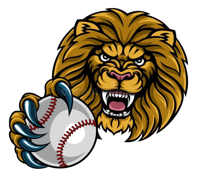 Lion Baseball Ball Sports Mascot ilustração stock