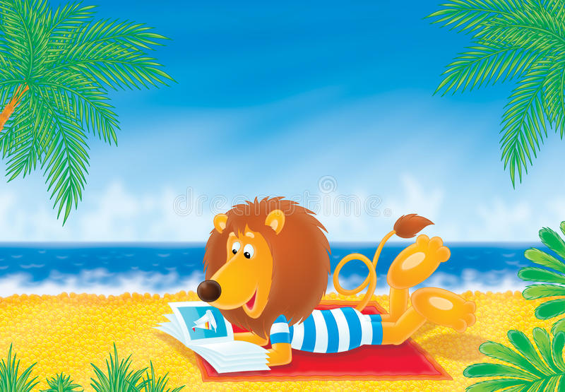 Download Lion on a beach stock illustration. Image of long, palm - 11829797