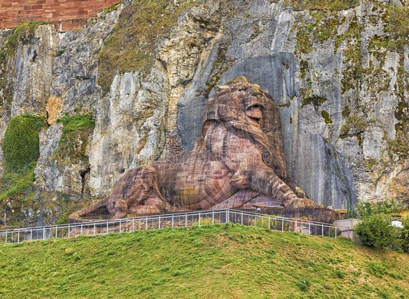 The Lion of Belfort, France. The colossal Lion of Bartholdi monument above Belfort, France royalty free stock image