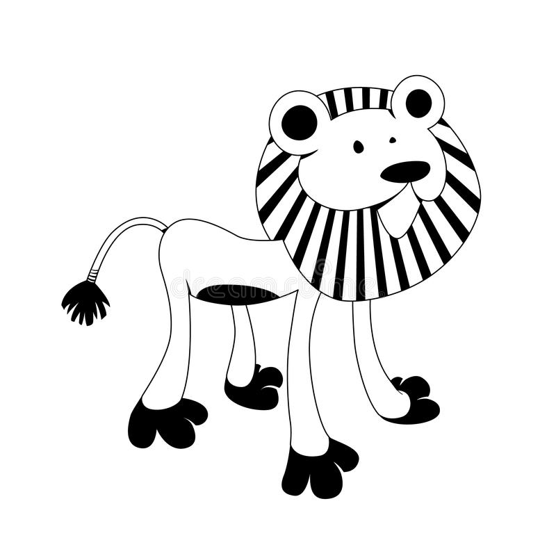 Lion - black & white animal series. Good for children's' books - scalable vector format included royalty free illustration