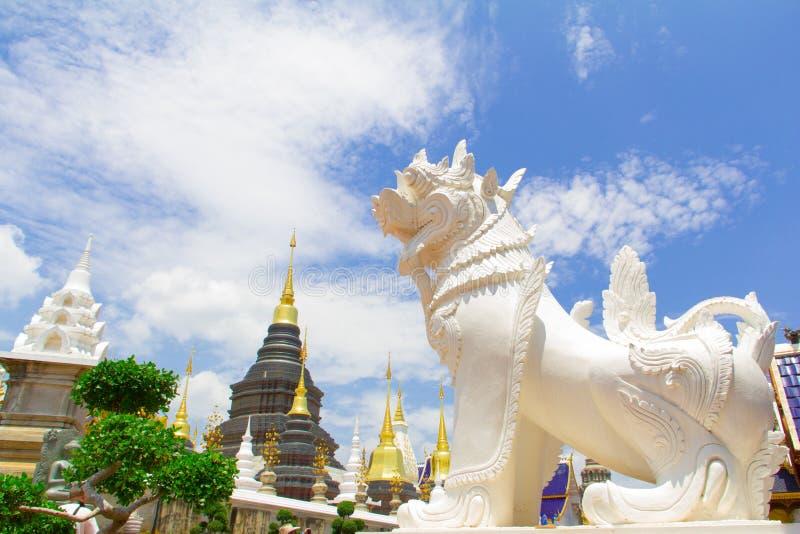 Lion blanc gardant la pagoda, Chiang Mai images libres de droits
