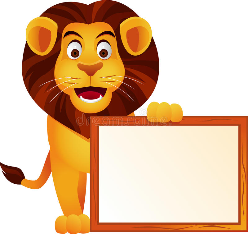 Lion With Blank Sign Stock Photo