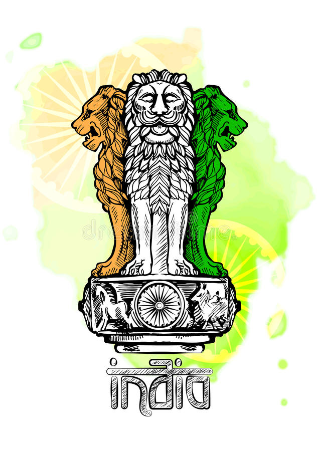 Lion capital of Ashoka in Indian flag color. Emblem of India. Watercolor texture backdrop.  vector illustration