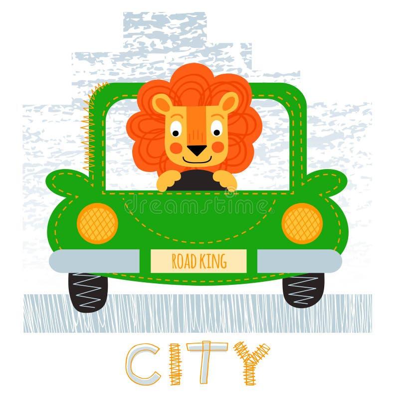 Lion with car t-shirt design vector illustration. vector illustration