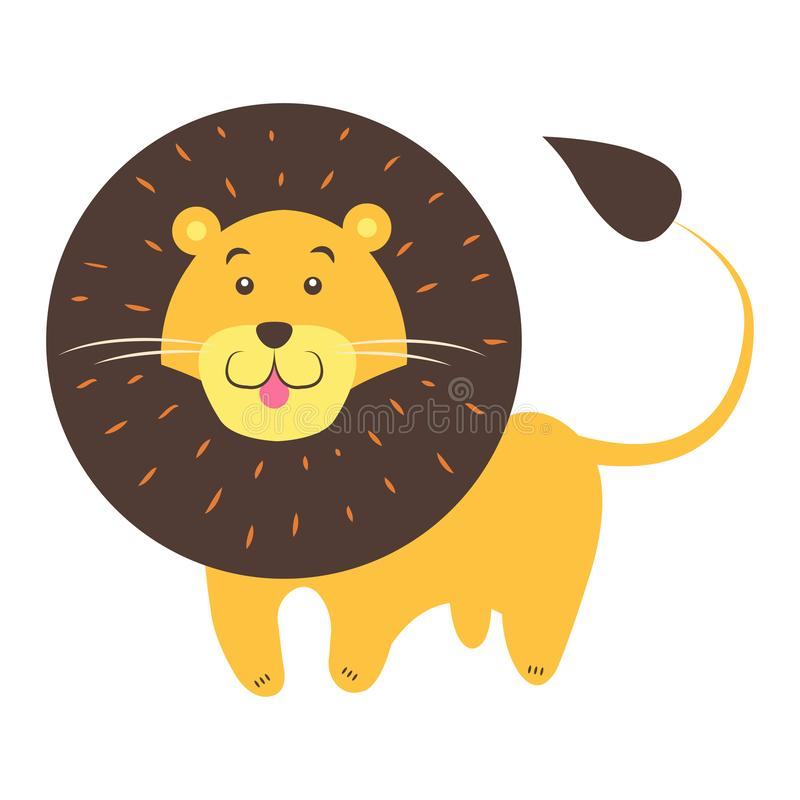 Lion Cartoon Flat Vector Sticker ou icône mignon illustration libre de droits