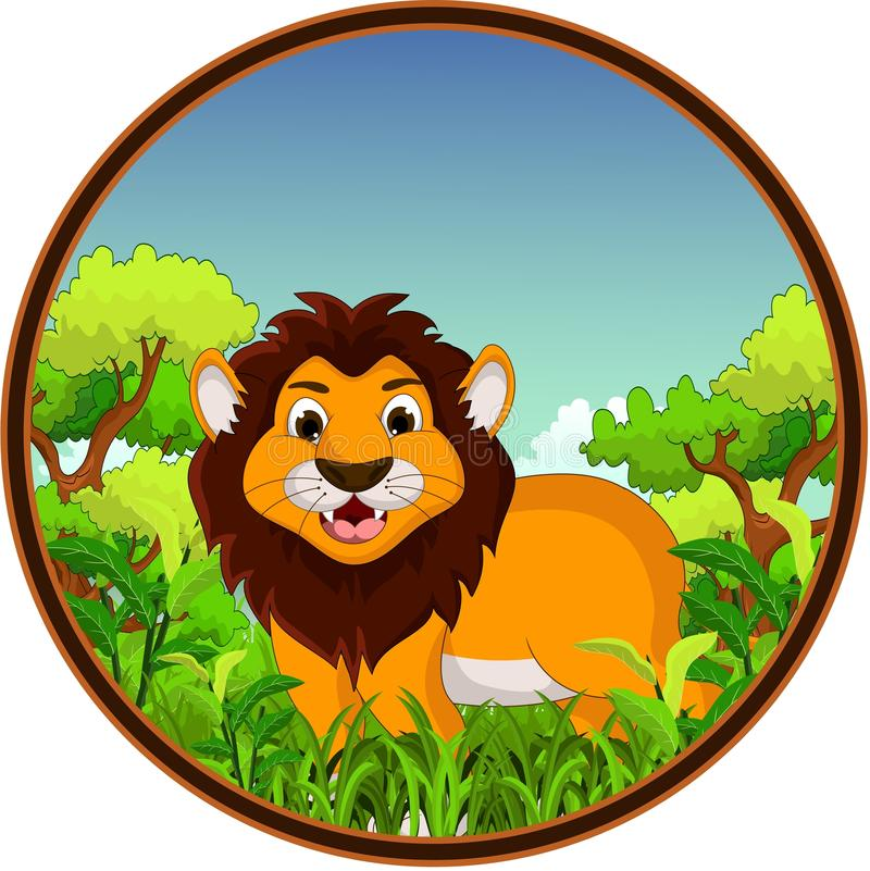 Download Lion Cartoon With Forest Background Stock Illustration - Image: 34268942