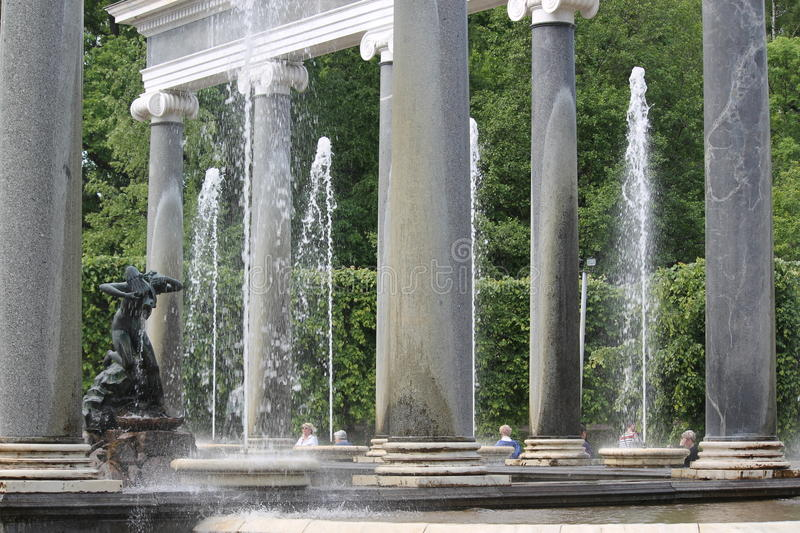Lion cascade differs from other fountains in Peterhof, Russia royalty free stock image