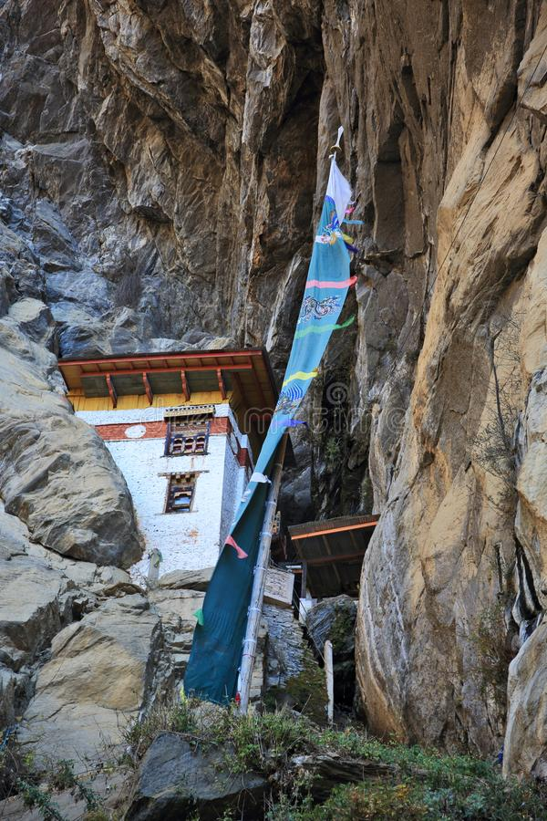 The Lion Cave - meditation house near the Tiger`s Nest monastery. Taktsang Monastery in Kingdom of Bhutann royalty free stock images