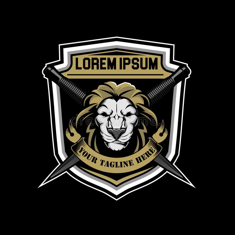 Lion character with knife Badge shield or Crest logo template. Lion aniaml character with knife Badge shield or Crest logo template sign or brand identit royalty free illustration