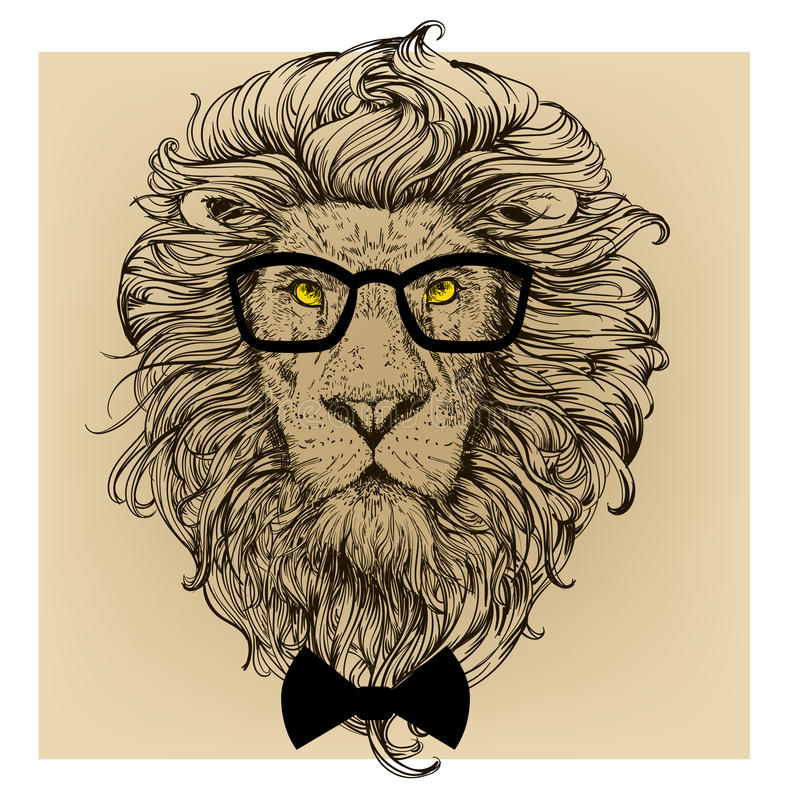 Lion character portrait. With glasses stock illustration
