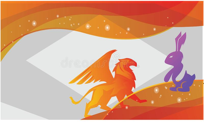 A lion is chasing rabbit stock illustration