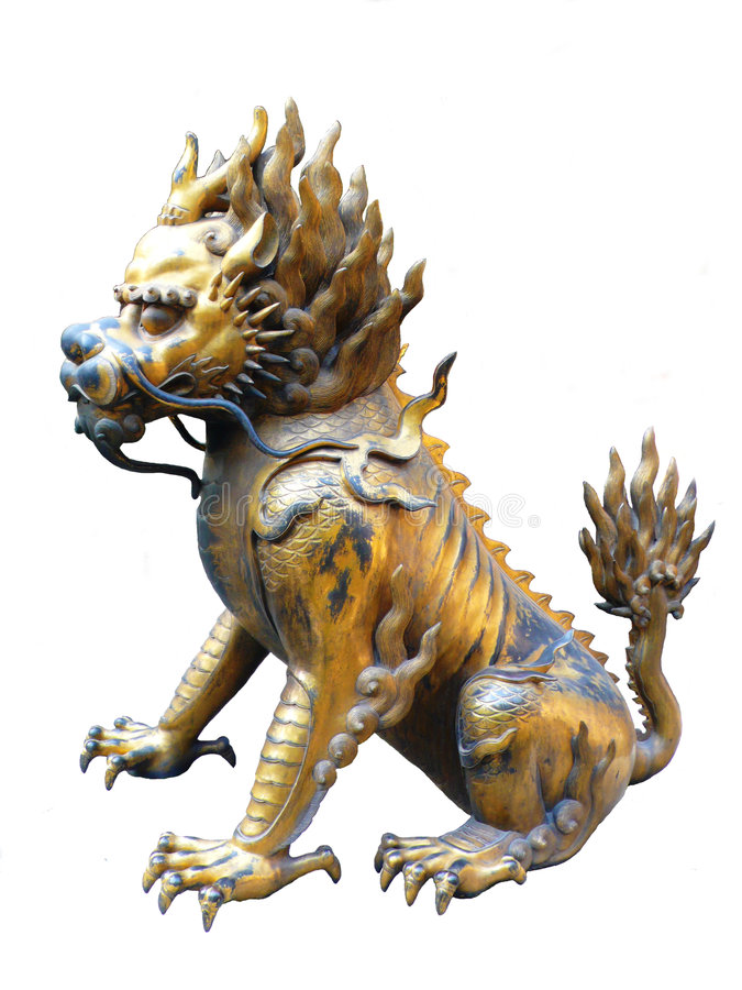 Lion chinois d'isolement image stock