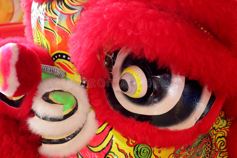 lion chinois de tête de danse images stock