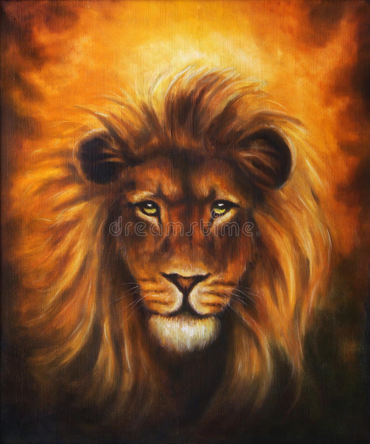 Lion close up portrait, lion head with golden mane, beautiful detailed oil painting on canvas, eye contact. vector illustration