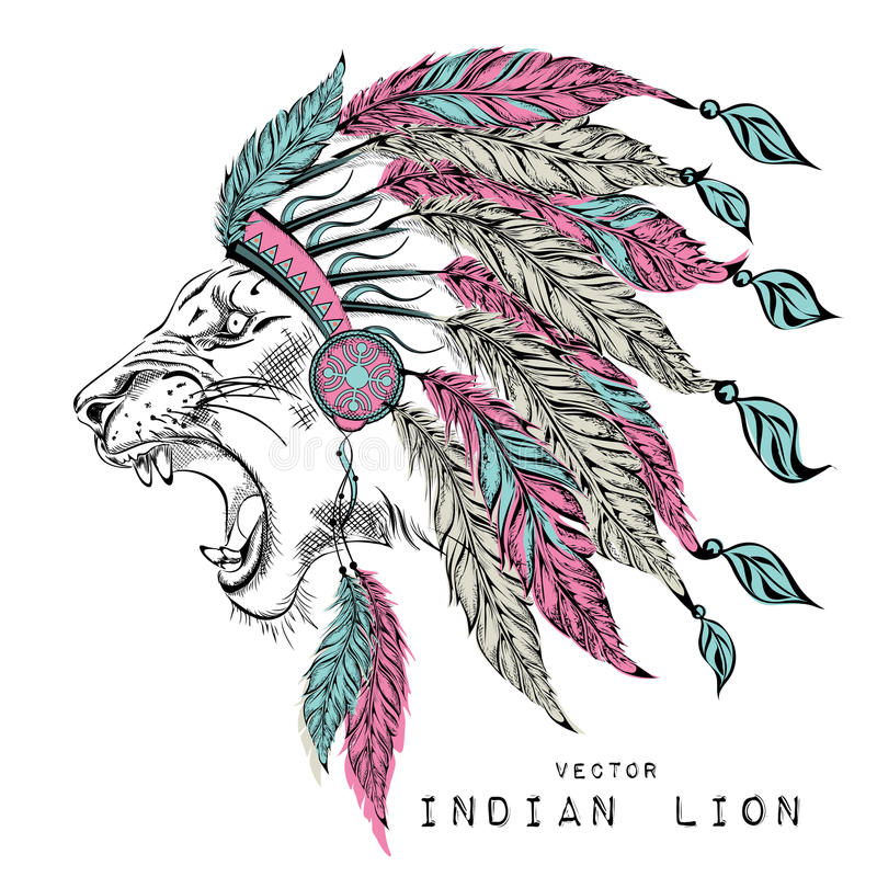 Lion in the colored Indian roach. Indian feather headdress of eagle royalty free illustration