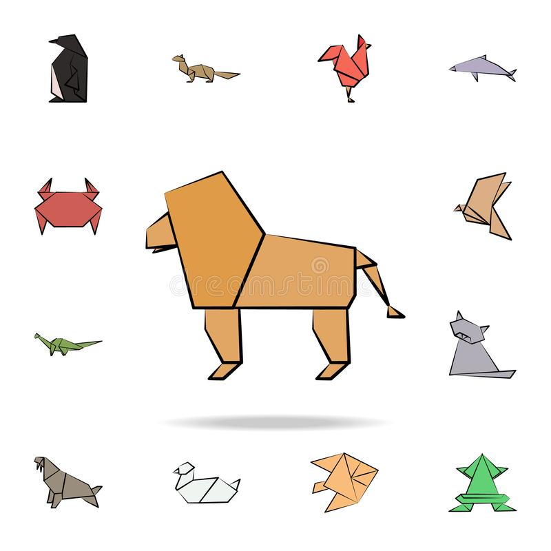 A lion colored origami icon. Detailed set of origami animal in hand drawn style icons. Premium graphic design. One of the. Collection icons for websites, web royalty free illustration