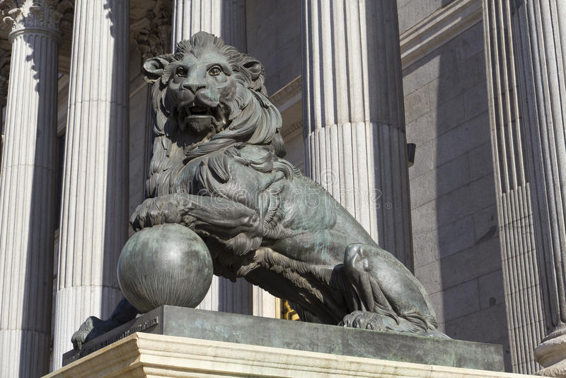 Lion of the Congreso de los diputados. Spanish Parliament royalty free stock photography