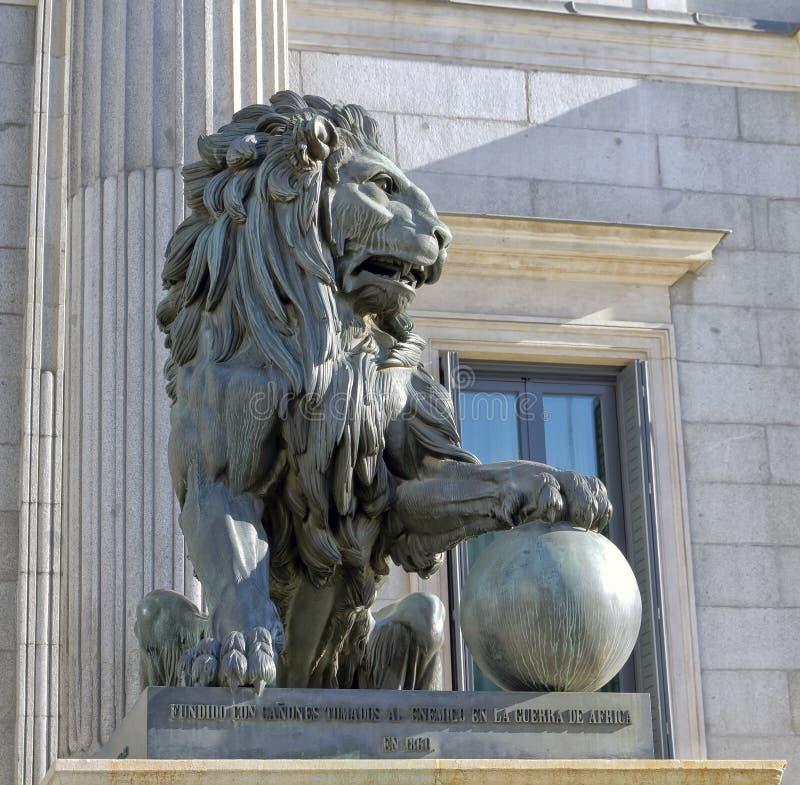 Lion of the Congreso de los diputados. Spanish Parliament royalty free stock photo