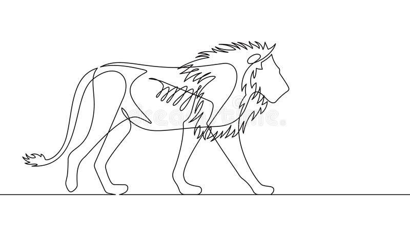 Lion Continuous Line Vector Illustration vector illustratie