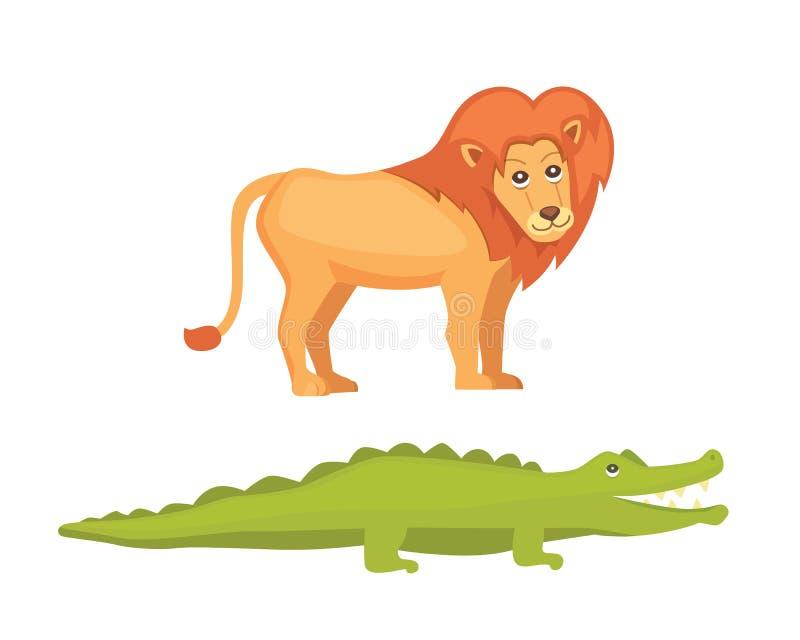Lion and crocodile savanna animals in cartoon style royalty free illustration