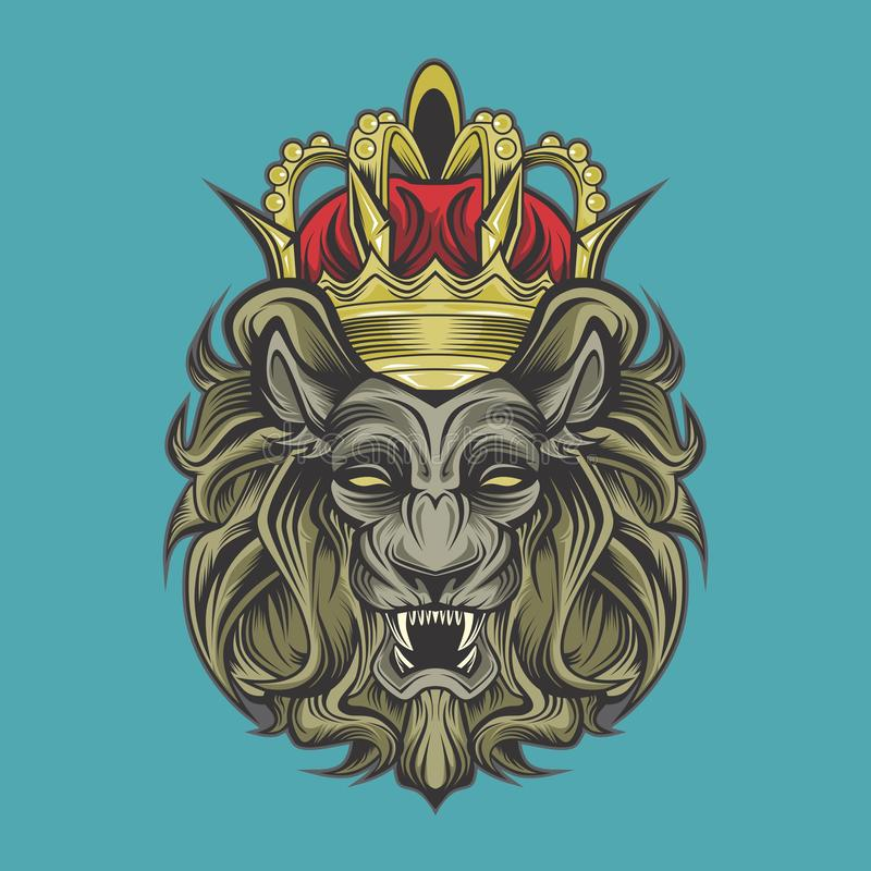 Lion and crown stock illustration