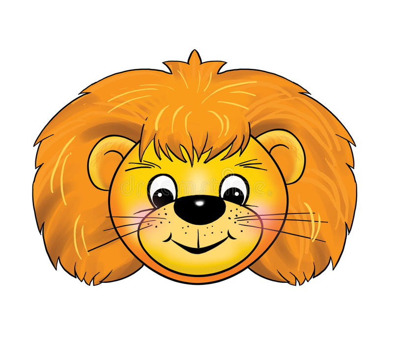 A lion cub Mask, carnival, childrens events, cartoon. A lion cub, ginger Mask, carnival, children parties. Color illustrations. Mask with the image of a lion cub vector illustration