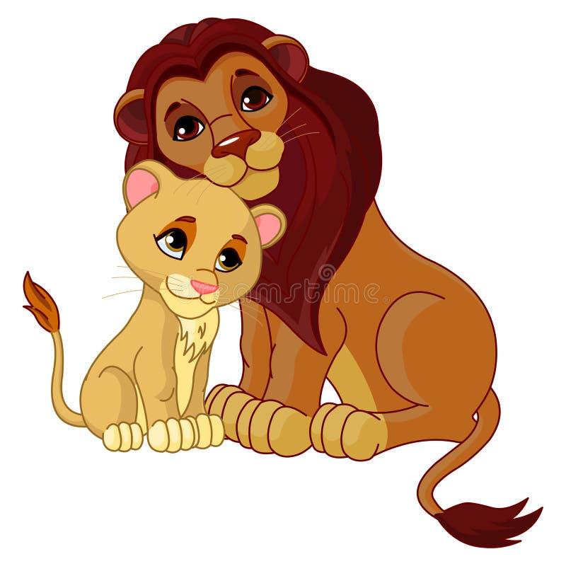 Download Lion and cub together stock illustration. Illustration of smiling - 14471361